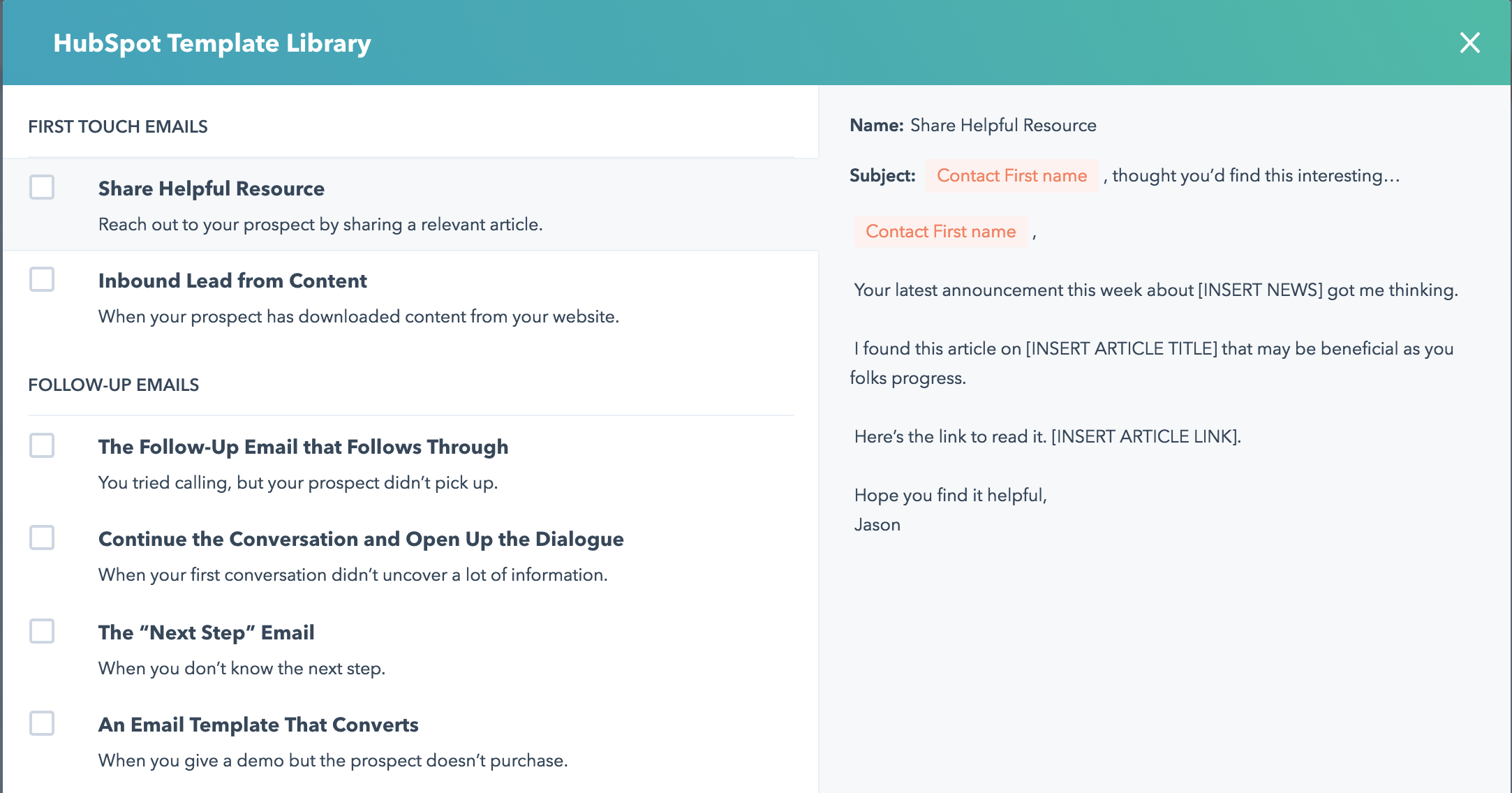 HubSpot Template Library - Sales Templates