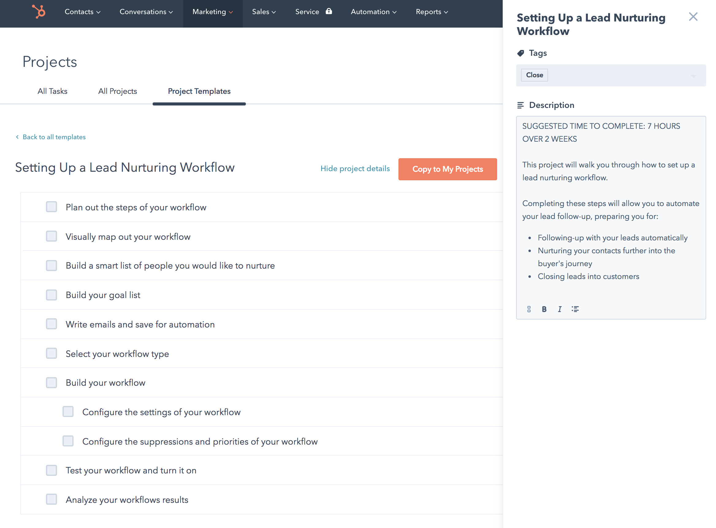 HubSpot Project Template - Lead Nurturing Workflow